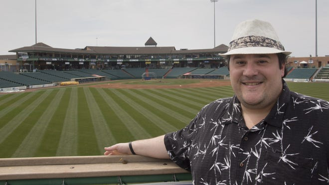 Greg Giombarrese, media relations director for the Lakewood BlueClaws, at Lakewood's FirstEnergy Park during the 2014 season.