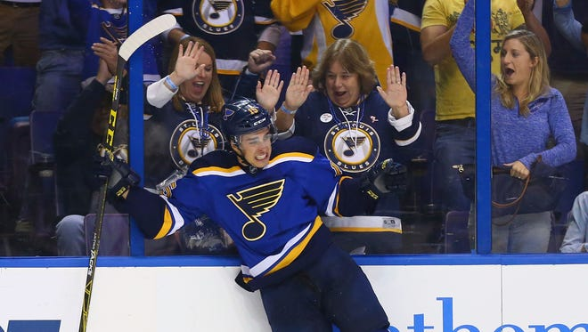 Robby Fabbri of the St. Louis Blues celebrates after scoring his first career goal against the Edmonton Oilers at the Scottrade Center.