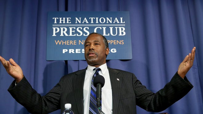 Ben Carson speaks to the media at the National Press Club on Feb. 3, 2016, in Washington.