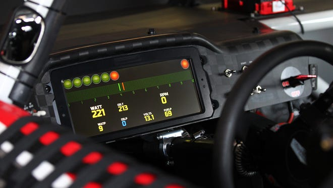 Kurt Busch drove with a digital dashboard during the 2015 Bojangles' Southern 500 at Darlington Raceway.