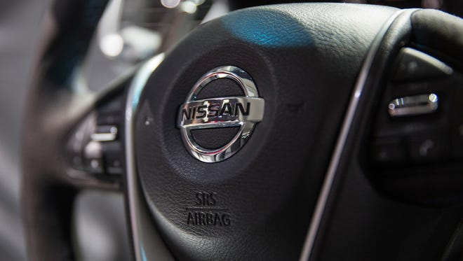 The 2016 Nissan Maxima's steering wheel is seen during the car's unveiling at the New York International Auto Show on April 2, 2015 in New York City.