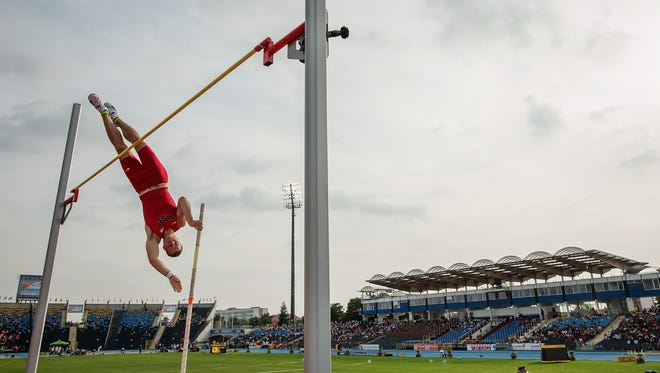 BYDGOSZCZ, POLAND - JULY 23: Deakin Volz from USA competes in men's pole vault during the IAAF World U20 Championships at the Zawisza Stadium on July 23, 2016 in Bydgoszcz, Poland.  (Photo by Joosep Martinson/Getty Images for IAAF)
