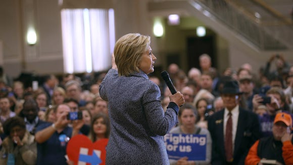 """Hillary Clinton speaks during a """"get out the vote"""""""