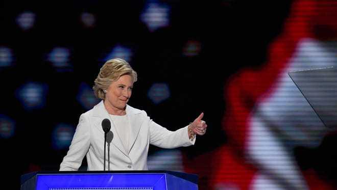 Hillary Clinton acknowledges the crowd before speaking during the Democratic National Convention on July 28, 2016.