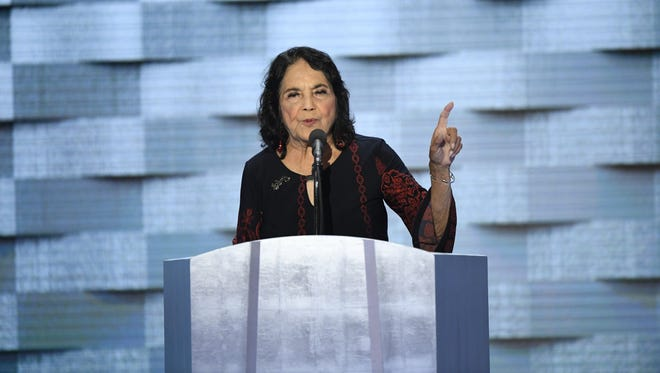 Civil rights leader Dolores Huerta speaks during the 2016 Democratic National Convention on July 28, 2016.