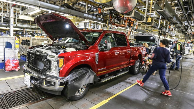 Ford Super Duty trucks on the assembly line at the Kentucky Truck Plant in Louisville, Kentucky on Sept. 30, 2016