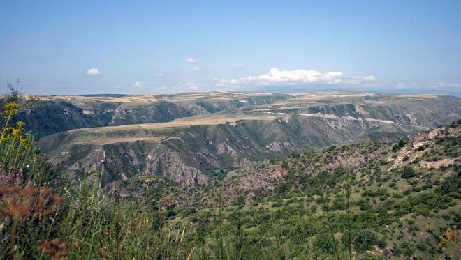 The landscape near the village of Ishkanadzor, Nagorno-Karabakh, in a part of Armenia that is officially in Azerbaijan. Roughly 200 Syrian and and Lebanese Armenian refugees now live in the area.