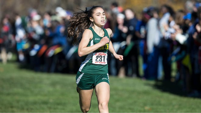 Elena DiMarcello of North Hunterdon competes at the cross country Meet of Champions at Holmdel Park on Saturday.