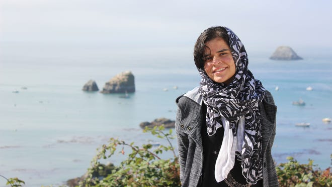 Syeda Mah Noor Asad visits the ocean for the first time during a trip to Trinidad.