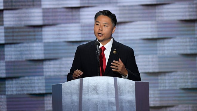Rep. Ted Lieu, D-CA, speaks during the 2016 Democratic National Convention at Wells Fargo Center.