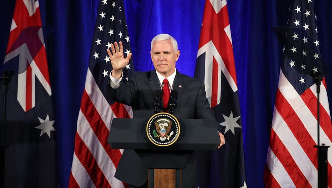 """If Vice President Mike Pence, seen here during a visit to Sydney, Australia, ascends to the U.S. Presidency, many LGBT activists are concerned he will attempt to roll back LGBT protections through """"religious freedom"""" legislation."""