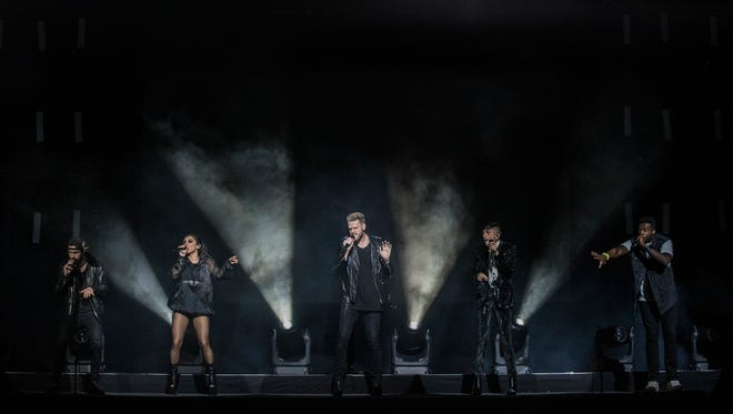 Pentatonix performs for a sold out crowd at the Iowa State Fair Grandstand on Sunday, August 13, 2017, in Des Moines.