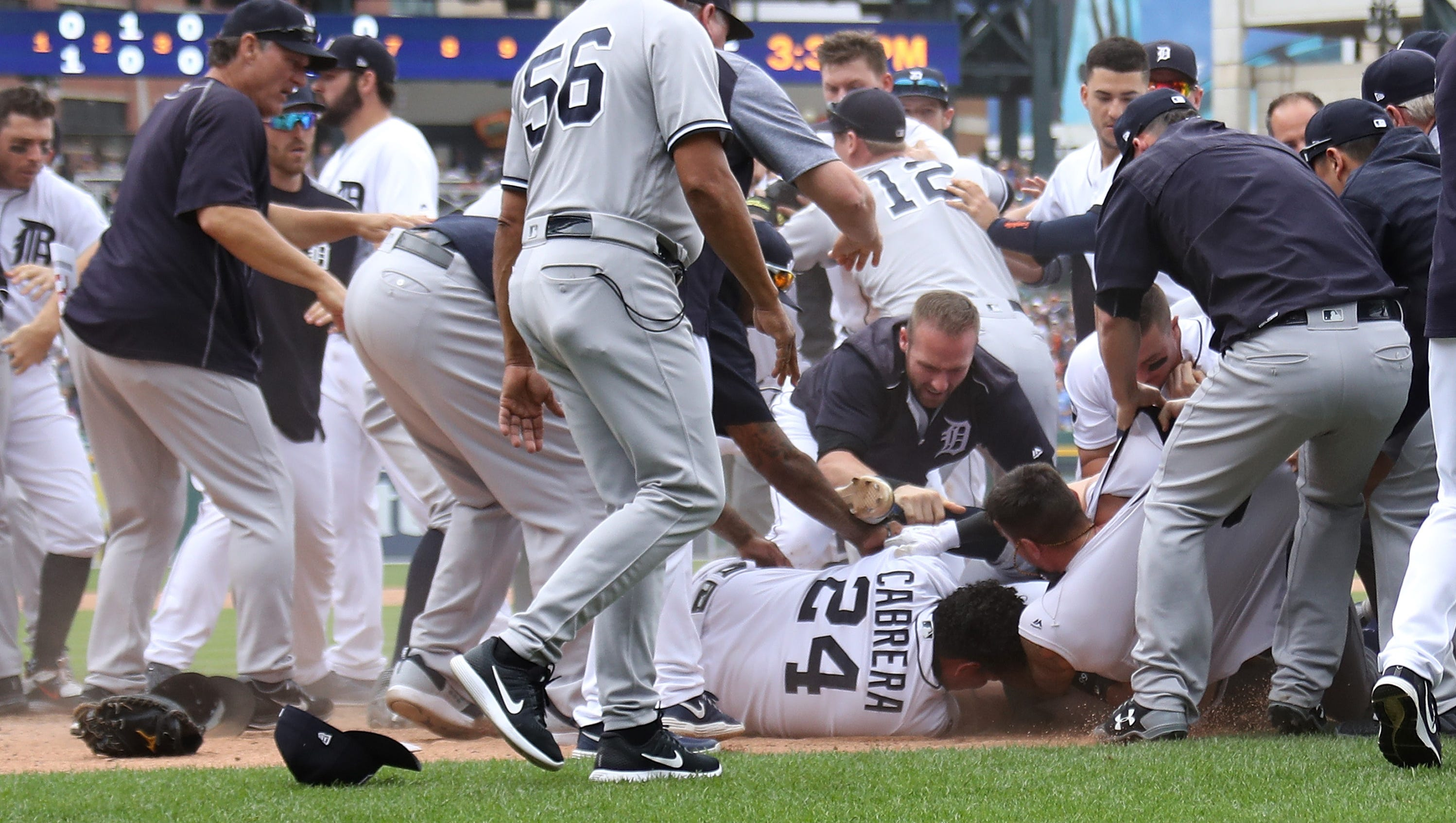 Outstanding Mlb Suspends Five In Tigers Yankees Bench Clearing Brawl Onthecornerstone Fun Painted Chair Ideas Images Onthecornerstoneorg