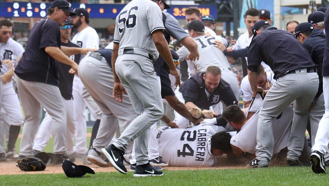 Aug. 24: Eight players and coaches were ejected from the Tigers-Yankees game that featured three bench clearing incidents. Those ejected: Yankees - RP Tommy Kahnle, manager Joe Girardi, RP Dellin Betances, C Austin Romine, coach Rob Thomson. Tigers: 1B Miguel Cabrera, RP Alex Wilson, manager Brad Ausmus.