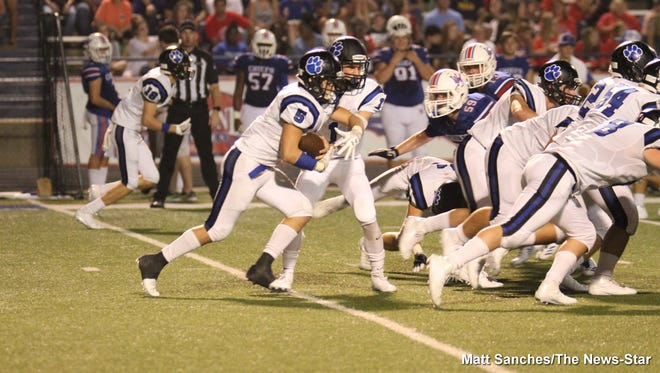 Sterlington quarterback Carson Clowers (1) and running back Austin Dupree (5) guided the Panthers to 33 unanswered points in a 40-15 win over Union Parish last Friday.