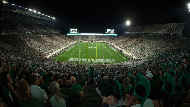 A general view of Spartan Stadium during the game between Notre Dame and Michigan State on Sept. 23, 2017 in East Lansing.
