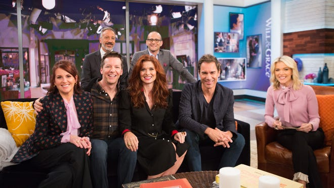 "'Will & Grace' star Debra Messing, center, says she was ""dismayed"" by a question host Megyn Kelly asked a gay fan of the show."