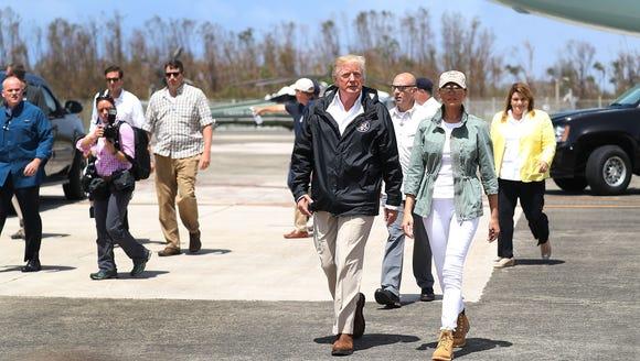 President Trump and Melania Trump arrive in Puerto
