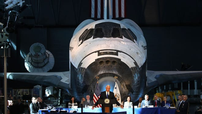 Vice President Pence at the National Air and Space Museum in Chantilly, Va., on Oct. 5, 2017.
