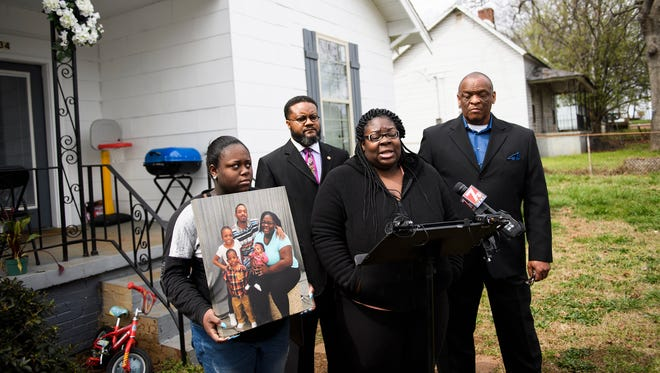 Tiffany Copeland speaks to members of the press during a press conference about the shooting death of her longtime boyfriend Jermaine Massey on Wednesday, March 21, 2018.