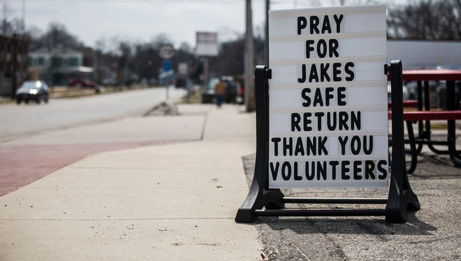 A sign sits outside Tootsie's Ice Cream with a message about the safe return Jake Wilson, 16 of La Porte City, who has been missing since Saturday, on Tuesday, April 10, 2018, in La Porte City.