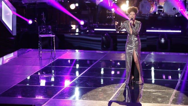 """Newark's Kelsea Johnson performs on """"The Voice"""" last night."""