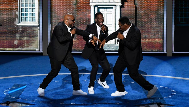 Boyz II Men perform 'Motownphilly' during the 2016 Democratic National Convention at Wells Fargo Arena.