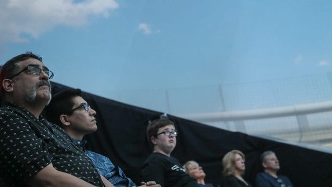 A group attends the Dome Experience at Contact in the Desert in Indian Wells, Calif., Sunday, June 3, 2018.