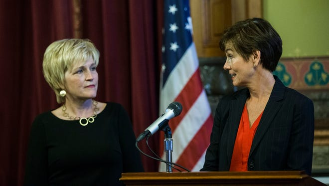 Governor Kim Reynolds announces her pick for IowaÕs next state Supreme Court justice, Susan Christensen of Harlan, on Wednesday, Aug. 1, 2018, in the Iowa State Capitol.