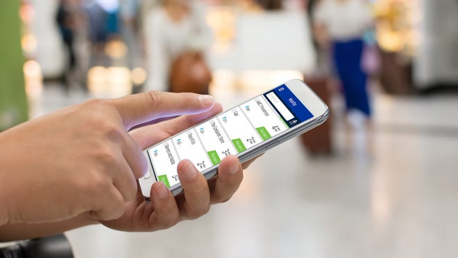 A file photo showing a smartphone using United's new MileagePlus X app.