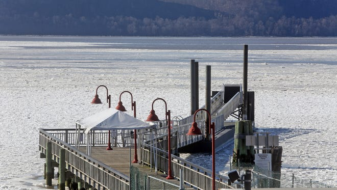 The ferry dock on the Hudson River in Ossining for the Haverstraw-Ossining ferry is surrounded by ice on Jan. 8, 2015. As a result of the ice conditions, ferry service was suspended. It will resume Wednesday.