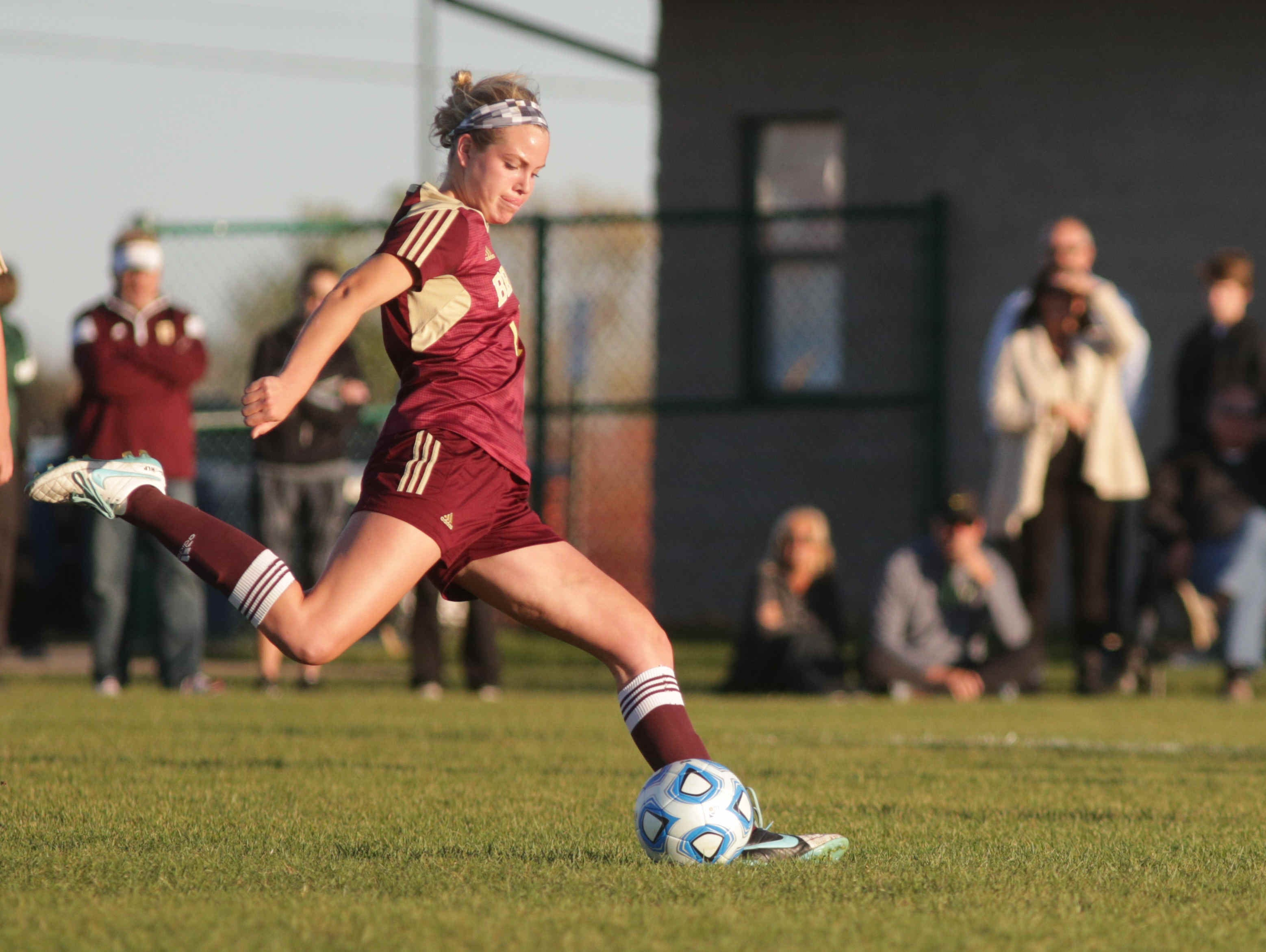 Brebeuf's number 11, Alia Martin tries for a second goal during Girls High School Regionals, at Zionsville Youth Soccer Association, Wednesday October 14th, 2015. Brebeuf defeated Cathedral 3 to 1.