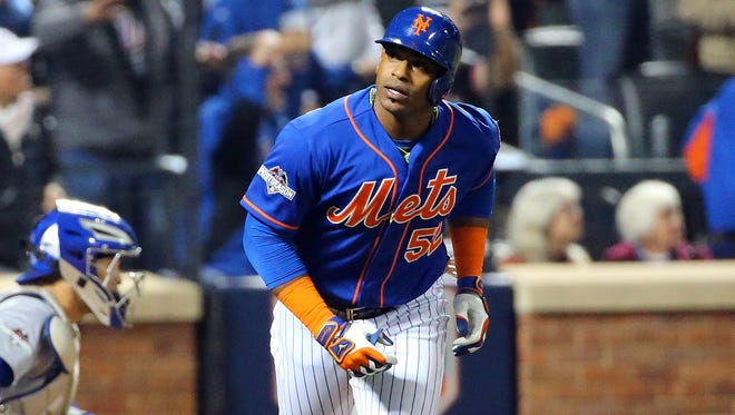 Cespedes hit two home runs in the postseason for the Mets in 2015.