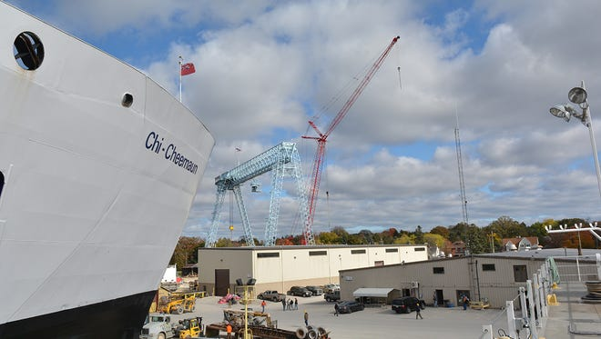 View of Fincantieri Bay Shipbuilding yards from dry dock