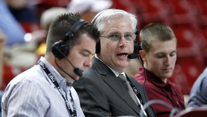 Arizona State Sun Devils basketball radio team, analyst Kyle Dodd and Tim Healey call the game in the first round NCAA basketball NIT game against the Detroit Titans Wednesday,  March 20, 2013  in Tempe.