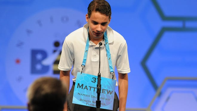 May 25, 2016; National Harbor, MD, USA; Matthew Krupka, 14, of Fort Myers, Fla., spells the word 'echolalia correctly during the 2016 Scripps National Spelling Bee at the Gaylord National Resort and Convention Center. Mandatory Credit: Christopher Powers-USA TODAY NETWORK