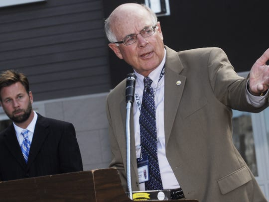 Fond du Lac City Manager Tom Herre gestures while speaking