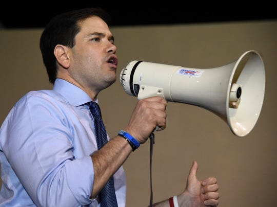 Republican presidential candidate Sen. Marco Rubio, R-Fla., addresses a rally on March 14, 2016 in Miami.