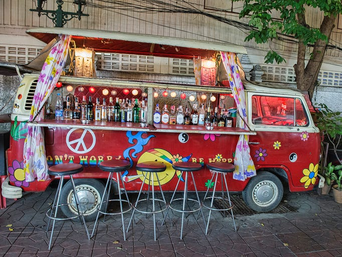 In Bangkok, brick and mortar bars are making way for a new nightlife trend - mobile bars on wheels.