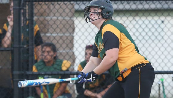 Lakeland's Claire Fon drives in a run against Goshen