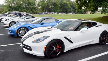 2015 Corvettes lined up for testing at General Motors' Miford (Mich.) Proving Grounds.