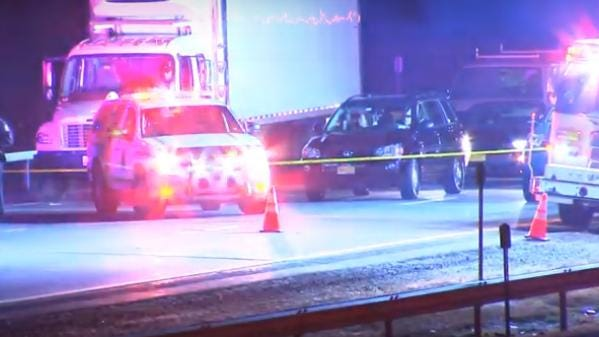 Police investigate the scene of the fatality on the Thruway early Sunday morning in the Town of Newburgh. [MARK LIEB/ROCKLAND VIDEO PRODUCTIONS}