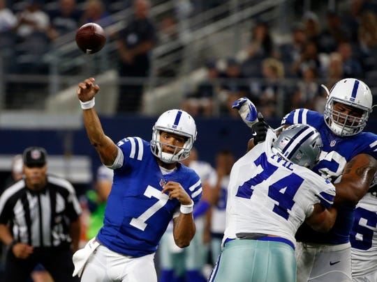 Indianapolis Colts quarterback Stephen Morris (7) throws a pass as under pressure from Dallas Cowboys defensive tackle Joey Ivie (74) in the second half of a preseason NFL football game, Saturday, Aug. 19, 2017, in Arlington, Texas. (AP Photo/Michael Ainsworth)