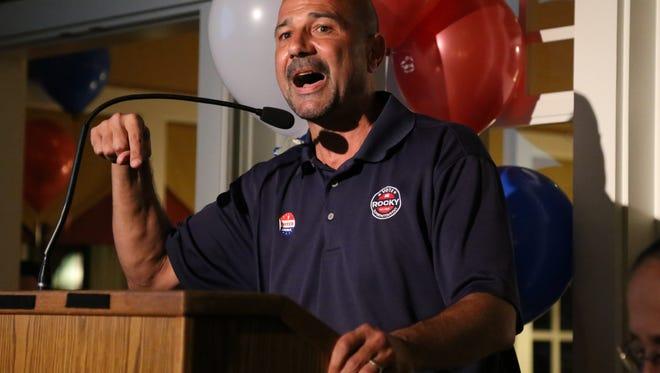 Rocky Hanna makes his acceptance speech at his election night party at the Egg Cafe on Tuesday, November 8, 2016.