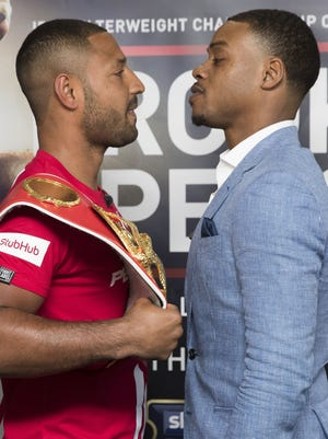 Kell Brook, left, and Errol Spence face off after a press conference to announce their fight on 27th May 2017 at Bramall Lane in Sheffield, England.