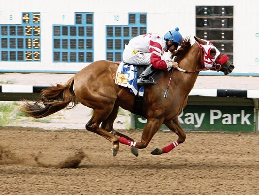 Wr Jessie, shown here under Martin Bourdieu winning her trial heat on Friday for the Aug. 23 New Mexico Breeders' Futurity, proved to be the fastest qualifier for the race.