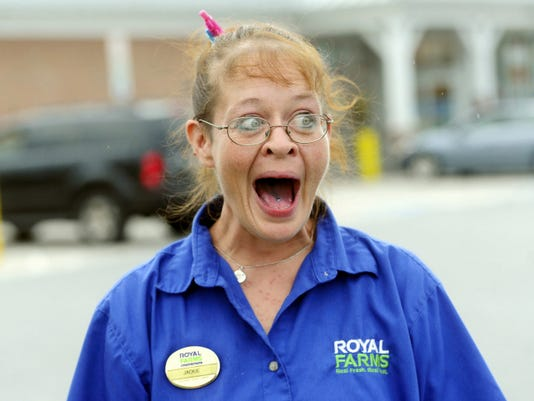 Royal Farms assistant manager Jackie Cunningham said she didn't think, she just acted after a customer came running into a store hollering for help. A woman in the parking lot was having a baby.