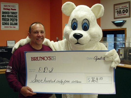 Bruno's Blast for Charity raised 764 for Developmental & Disability Services of Lebanon Valley. Jedd Erdman, Bruno's owner is pictured recenlty with Frosty Bite, DDS' Cold for a Cause mascot.