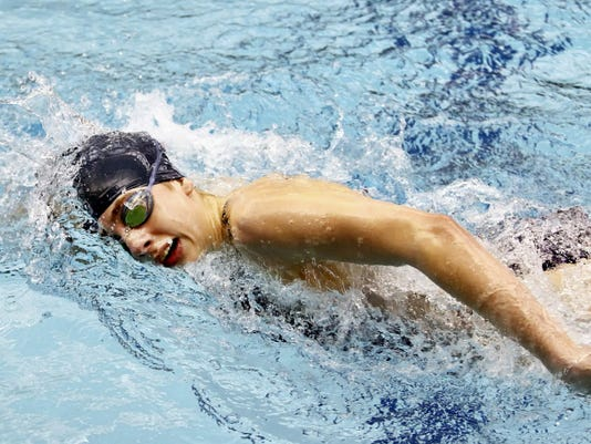 Eastern York's Madison Nalls swim the 500-yard freestyle during Thursday's PIAA Class AA girls' swimming championships at Bucknell University. Nalls finished eighth for her second medal in as many days in her first trip to the state championship.