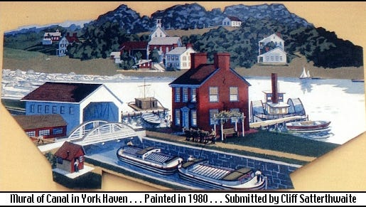 Mural of canal operations in York Haven, York County